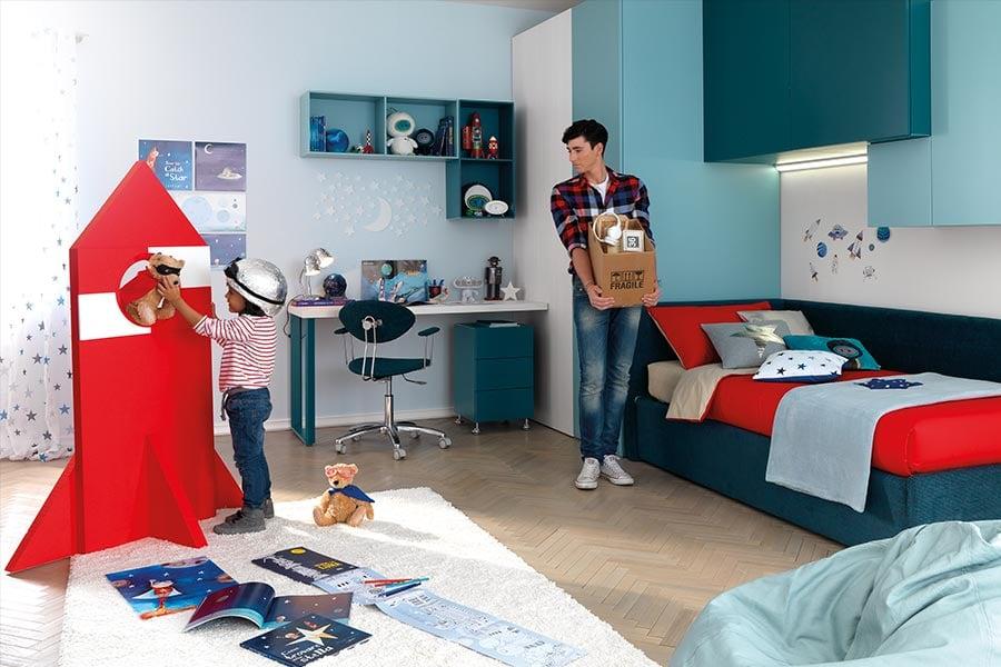 Come organizzare l'angolo gioco dei tuoi figli? Le regole d'oro bambino e ragazzo in camera azzurra