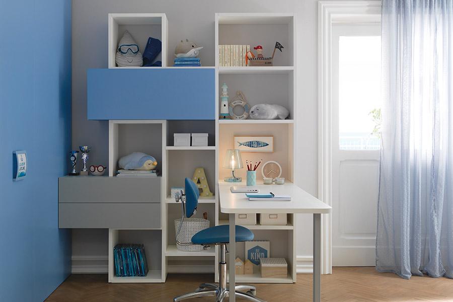Librerie per cameretta su misura: le soluzioni di qualità Moretti Compact parete blu