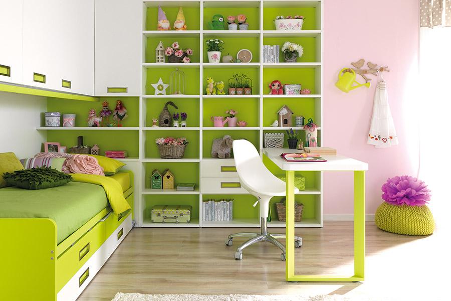 Librerie per cameretta su misura: le soluzioni di qualità Moretti Compact letto parete verde