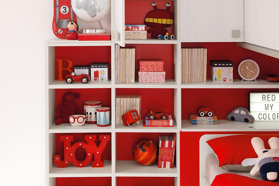 Librerie per cameretta su misura: le soluzioni di qualità Moretti Compact parete rossa