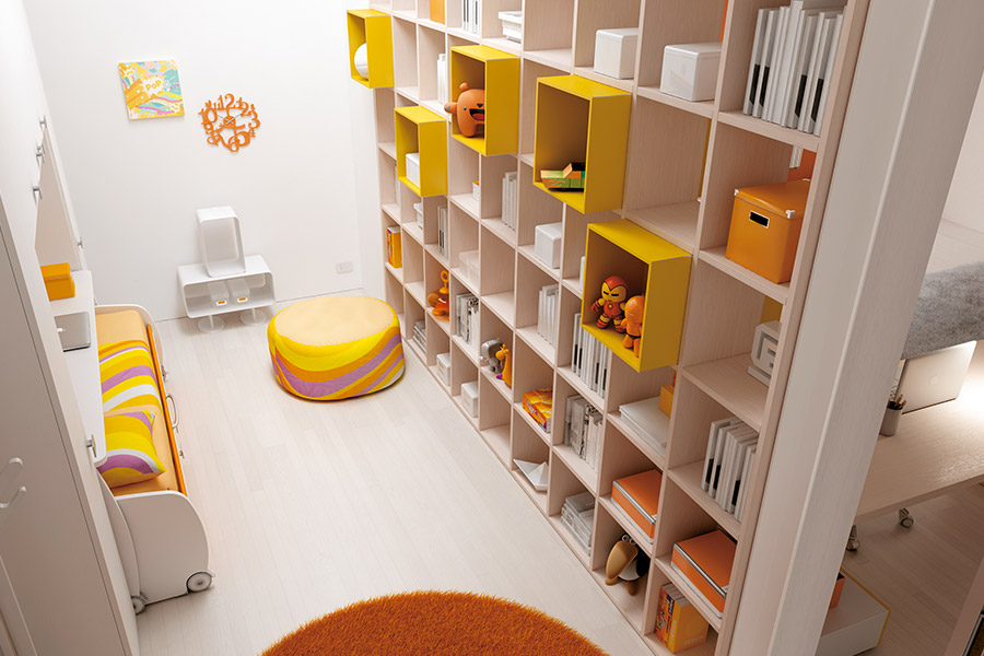 Librerie per cameretta su misura: le soluzioni di qualità Moretti Compact camera grigia gialla
